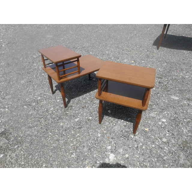 1960's Danish Modern Baumritter Corner End Side Tables- a Pair For Sale - Image 10 of 11