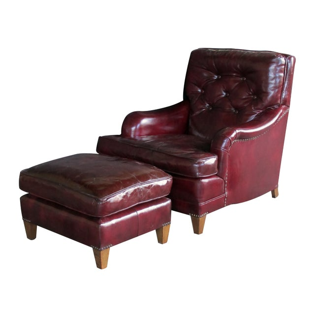 A Handsome and Comfortable American 1940's Chesterfield Club Chair and Ottoman With Deep Burgundy Leather For Sale In San Francisco - Image 6 of 6
