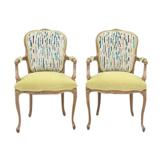 G P & J Baker & Kravet Upholstered Louis XV Style Fauteuils, a Pair For Sale