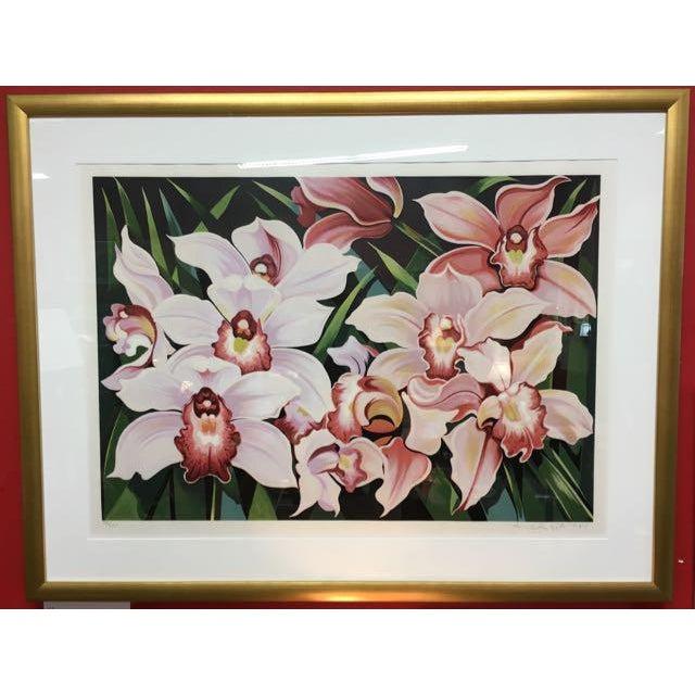"""""""Cattleya Orchids"""" original limited edition serigraph by Lowell Nesbitt (USA: 1933-1993). Nesbitt earned a BA at Temple..."""