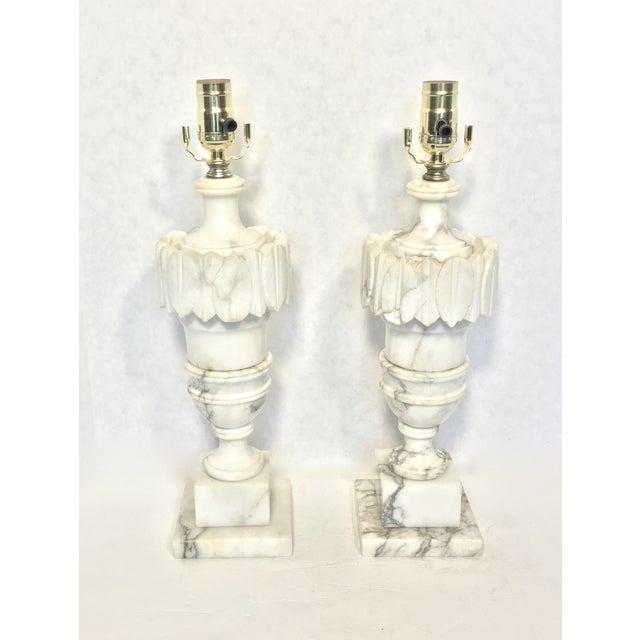 Vintage Alabaster Carved Urn Lamps - A Pair - Image 3 of 6