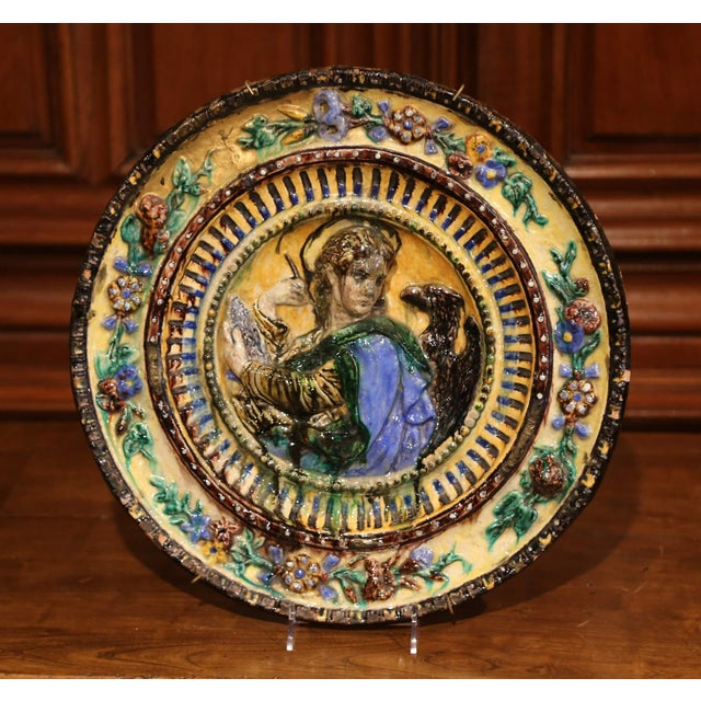 Large Early 20th Century Italian Hand-Painted Majolica Wall Charger For Sale - Image 4 of 6