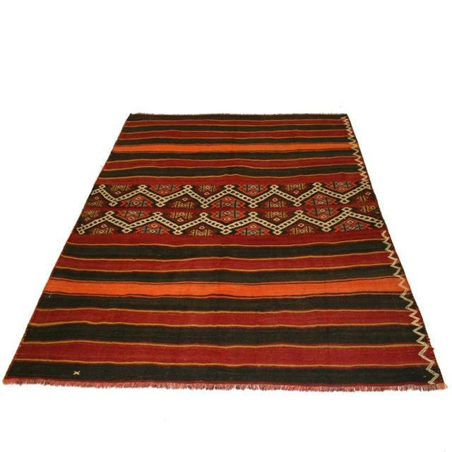 Brick Red Rag Rug: Vintage Brick Red Turkish Kilim Rug