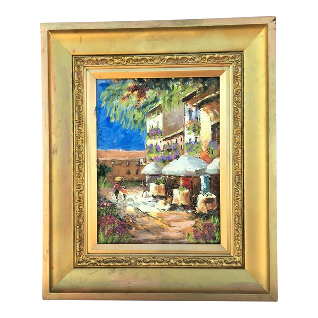 Italian Cafe Oil Painting For Sale