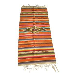 Vintage Mexican Wool Saltillo Serape Orange Rug - 1′10″ × 3′11″ For Sale