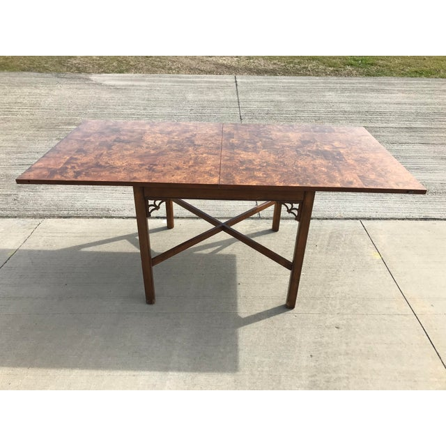 Mid century Milo Baughman meets Chinese Chippendale style flip top table. This timeless classic styled table is patchwork...