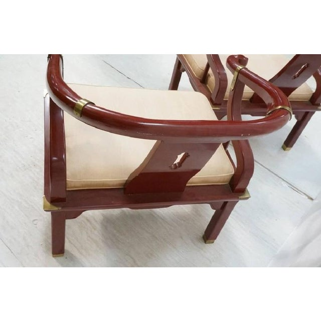 James Mont Style Century Red Horseshoe Back Lounge Chairs - a Pair For Sale In Houston - Image 6 of 9