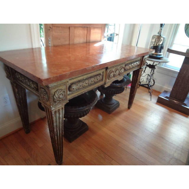 Pink 17th Century Italian Gilt Wood With Marble Top Console Table For Sale - Image 8 of 10