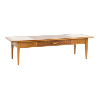 1960s Mid-Century Modern Warren Church for Lane Perception Walnut and Travertine Marble Coffee Table For Sale