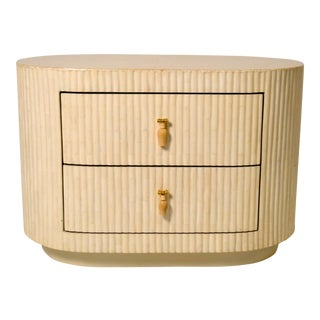 Enrique Garcel Tessellated Bone Nightstand/End Table For Sale