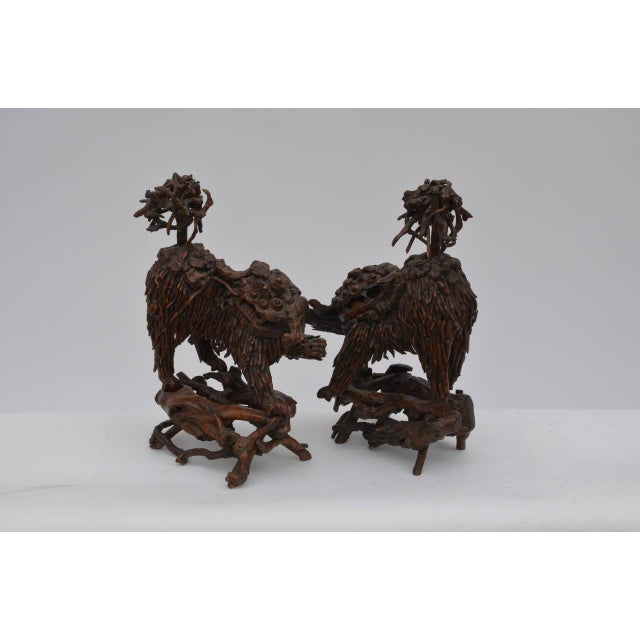 Mid 18th Century Chinese Carved Wood Foo Dogs - a Pair For Sale In Los Angeles - Image 6 of 6