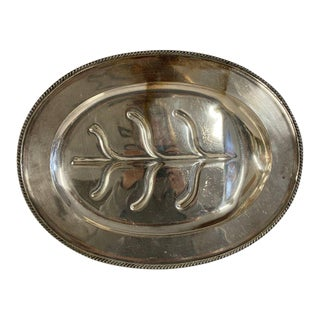 Vintage 1940s Oval Silver Plate Footed Meat Tray For Sale