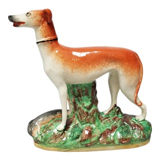 Late 19th Century Staffordshire Whippet Figurine For Sale