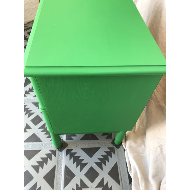 1960s Vintage Mid Century Modern Green Painted Faux Bamboo Nightstand For Sale In Palm Springs - Image 6 of 9