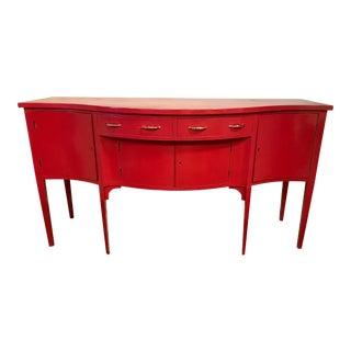 1940s Federal Red Lacquer Server Sideboard Credenza Buffet For Sale