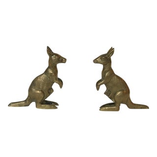 Brass Kangaroo Statues or Bookends - a Pair