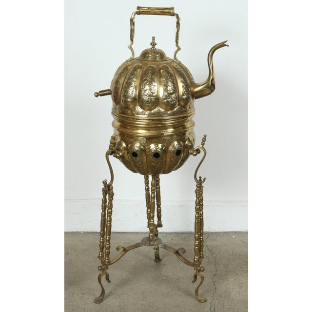 Moroccan Brass Kettle on Stand Handcrafted in Fez Morocco For Sale - Image 4 of 11