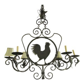 Large 6 Lamp Iron Rooster Chandelier