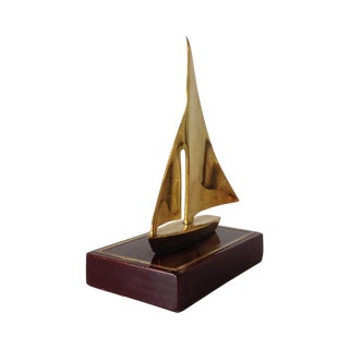 Brass Sailboat Accent Bookend - A Pair For Sale