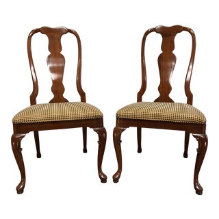 Solid Cherry Queen Anne Dining Side Chairs by Fancher - Pair 12 For Sale