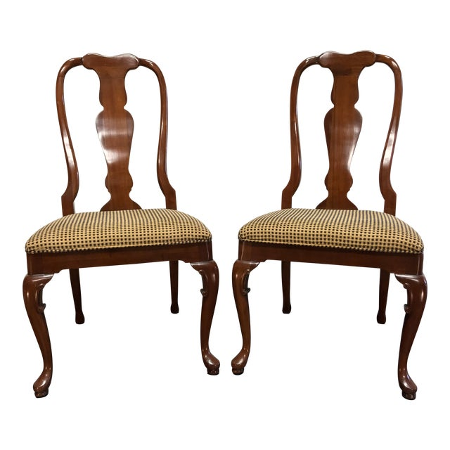Solid Cherry Queen Anne Dining Side Chairs by Fancher - Pair 2 For Sale