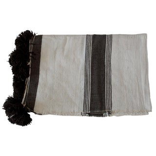 Moroccan Brown Striped White Pom Pom Throw Blanket