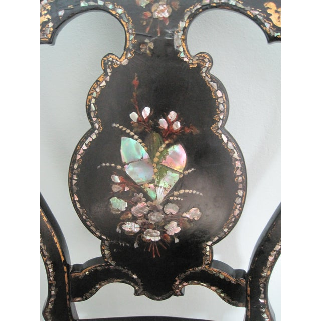 Boho Chic Mid 19th C. Victorian Mother of Pearl Inlay Papier Mache Chair For Sale - Image 3 of 11