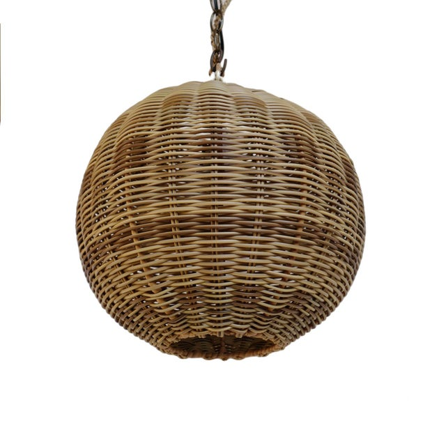Contemporary Faux Rattan Two Tone Globe Lantern For Sale - Image 3 of 5
