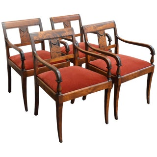 Set of Four Vintage Swedish Neoclassical Style Armchairs For Sale