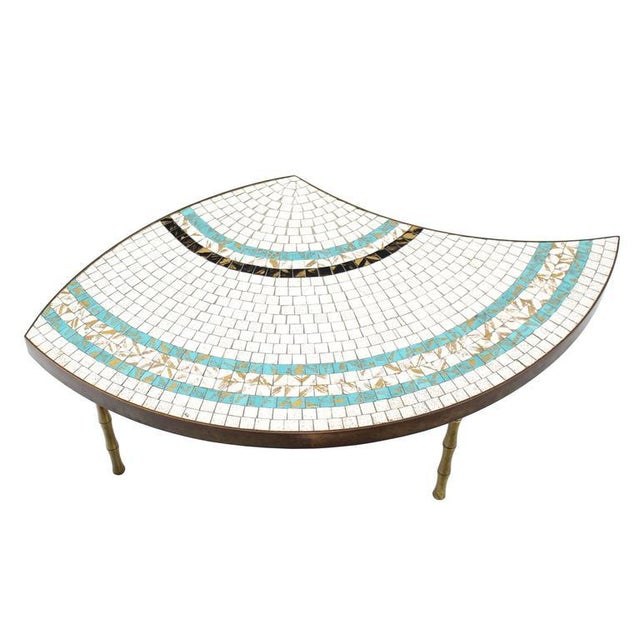 Three-Part Bronze and Mosaic Round Coffee Table For Sale - Image 9 of 9