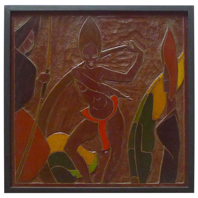 Mid 20th Century Africana Tribal Relief Panel Art Signed Jan De Swart For Sale