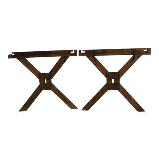Vintage Rustic Wood Trestle Table Legs - a Pair For Sale