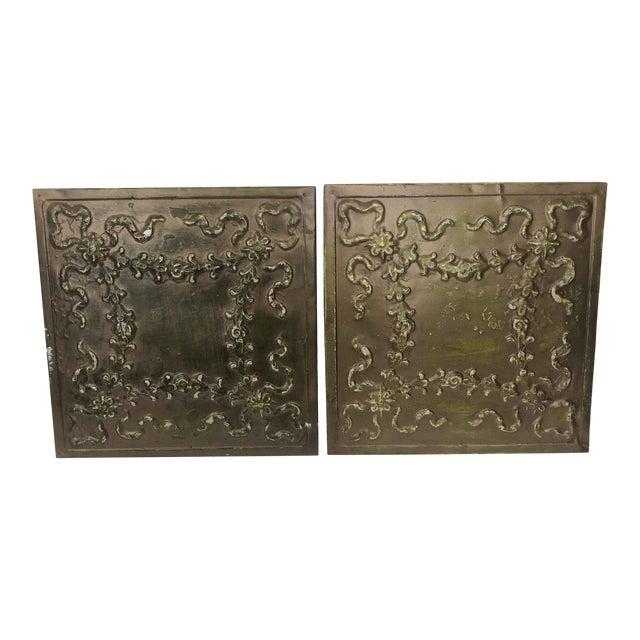 Floral Ribbon Bronze Tin Panels For Sale