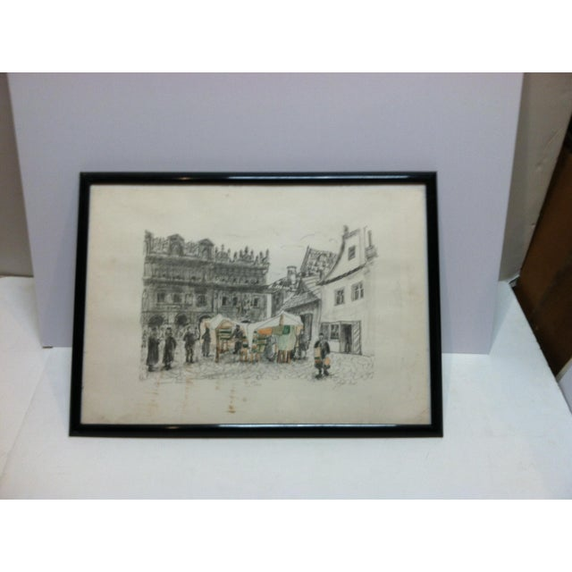 """Paper """"Town Market"""" Limited Edition Signed (114/200) Framed Print by Shemuel Wodnitzky For Sale - Image 7 of 7"""