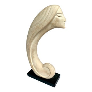 1980s Art Nouveau Art Deco Signed Cast Stone Sculpture For Sale