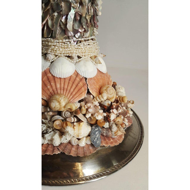 Metal Handmade Exotic Sea Shell Encrusted Silver Plated Display Pedestal For Sale - Image 7 of 10