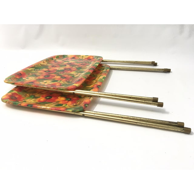 Vintage Mid-Century Fiberglass Floral TV Trays - A Pair For Sale - Image 6 of 6