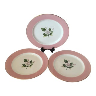 Mid-Century Pink Dinner Plates - Set of 3 For Sale