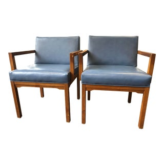 Mid Century Modern French Blue Naugahyde Chairs - a Pair For Sale