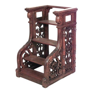 French Victorian Walnut Library Steps For Sale
