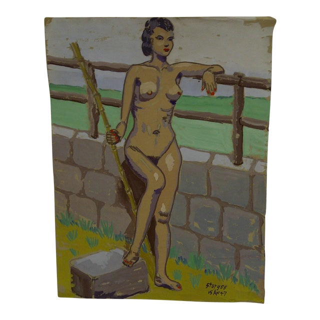 """Original Painting on Paper """"Nude by the Wall"""" by Tom Sturges Jr., 1947 For Sale"""