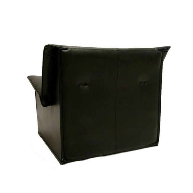 Afra and Tobia Scarpa for B & B Italia Black Leather Lounge Chair For Sale In New York - Image 6 of 7