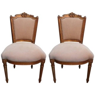 19th Century French Louis XVI Style Gilt Wood Chairs - A Pair For Sale