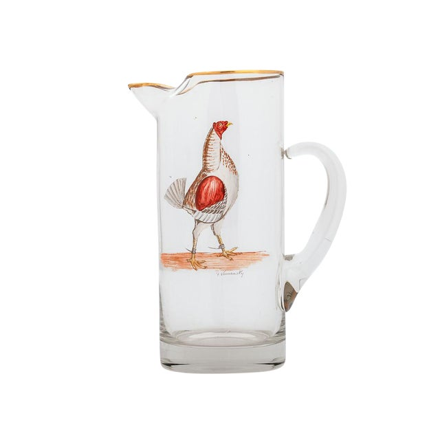 Fab Abercrombie & Fitch Rooster Cocktail Pitcher C 40s Hand-Painted by Frank Vosmansky - Image 1 of 2