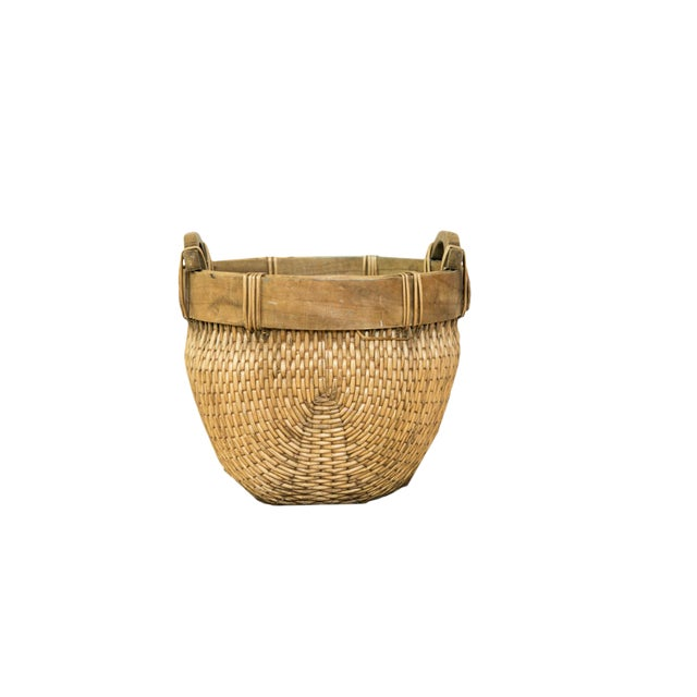 Natural Vintage Willow Basket For Sale