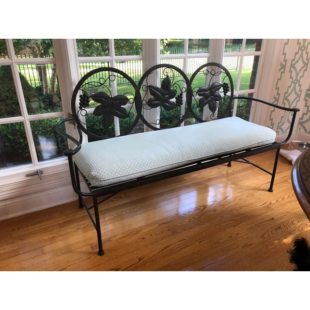 1990s Maitland-Smith Style Heavy Iron Bench For Sale - Image 9 of 9