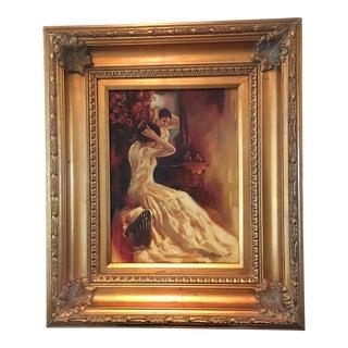 W. Hackett Vintage Painting of Woman & Vanity