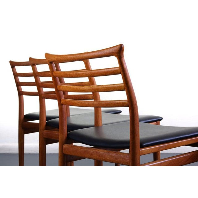 Danish Modern Erling Torvits Dining Chairs in Teak w/ Black Leather Seats, Denmark For Sale - Image 4 of 6