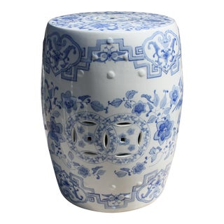 Vintage Chinoiserie Style Blue and White Ceramic Garden Seat / Garden Stool For Sale