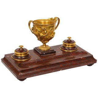Large Rouge Marble and Gilt Bronze Inkwell Encrier, Attributed to Barbedienne For Sale